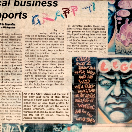 """""""Local Business Supports Graffiti"""" Photos and Cover Story on Legal Graffiti for TPL"""