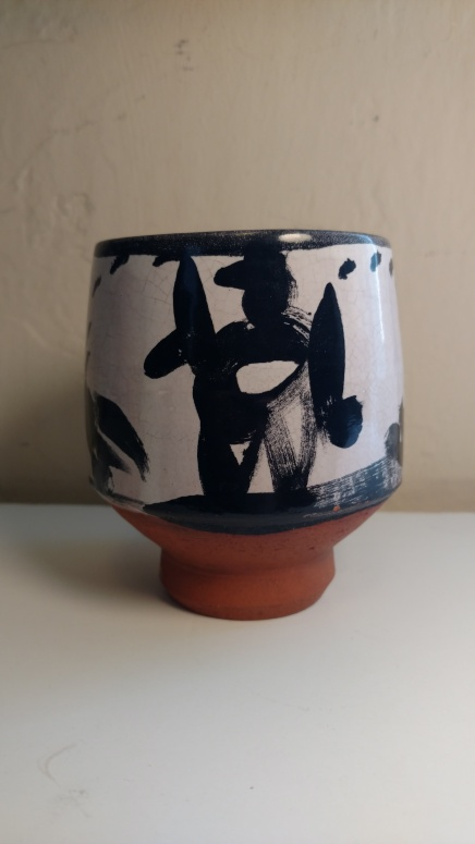 Low electric fire majolica cup done at Trax